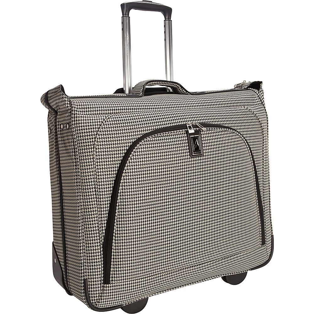 "London Fog Cambridge 44"" Wheeled Garment Bag Black White Houndstooth - London Fog Garment Bags"