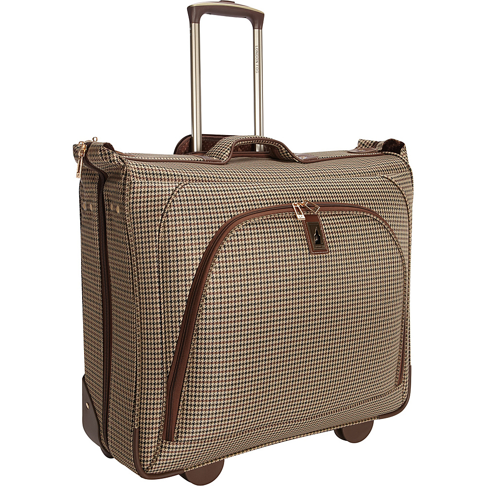 "London Fog Cambridge 44"" Wheeled Garment Bag Olive Plaid Houndstooth - London Fog Garment Bags"