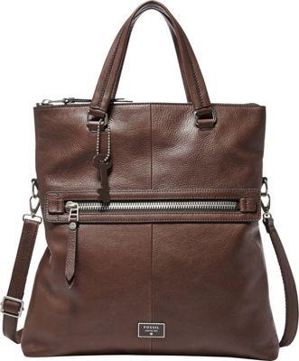 Fossil Dawson Foldover Tote Espresso - Fossil Leather Handbags