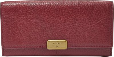 Fossil Emerson Flap Clutch Maroon - Fossil Ladies Small Wallets