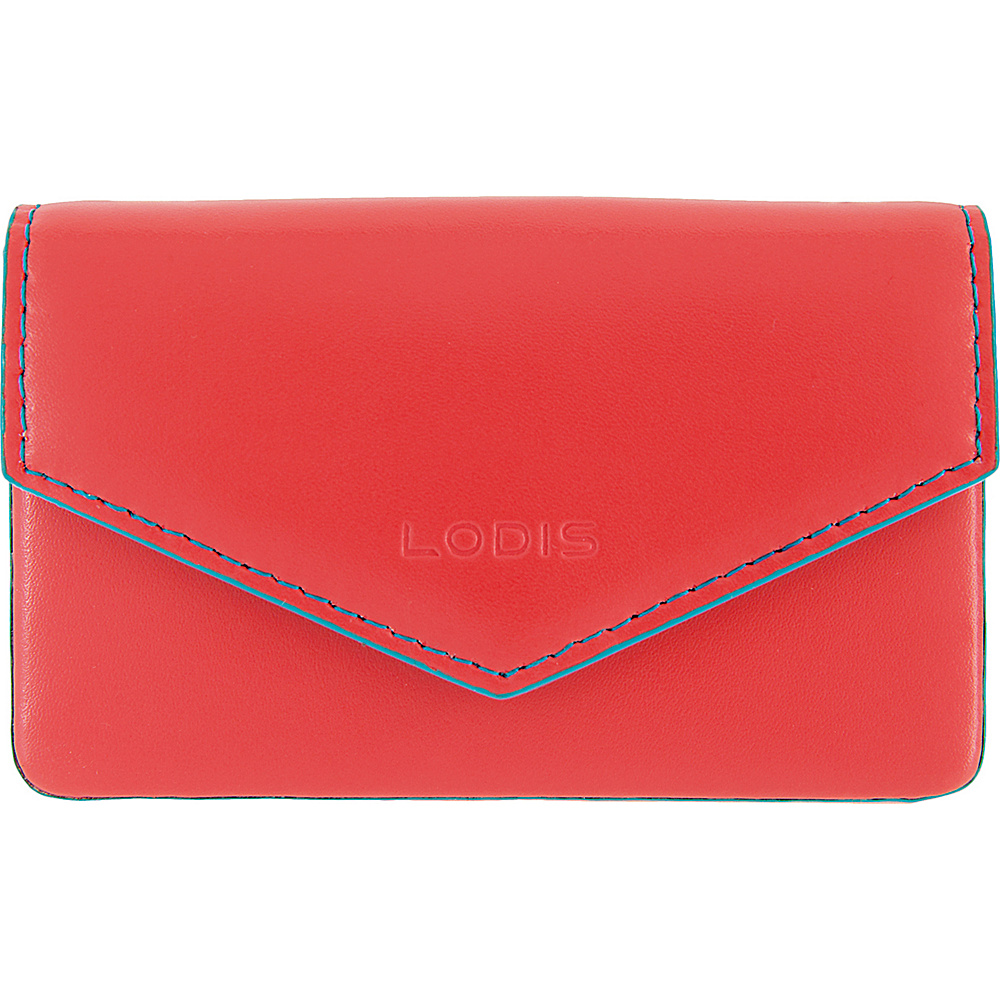 Lodis Audrey Premier Maya Card Case Coral/Turquoise - Lodis Womens SLG Other - Women's SLG, Women's SLG Other