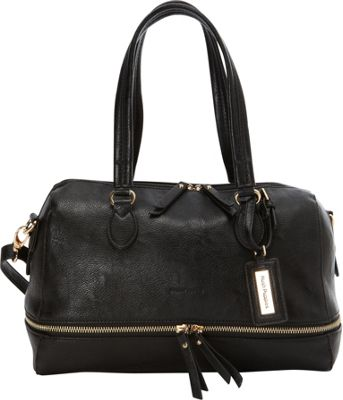 Hush Puppies Shoulder Bag with Double Slider Pulls Black - Hush Puppies Manmade Handbags