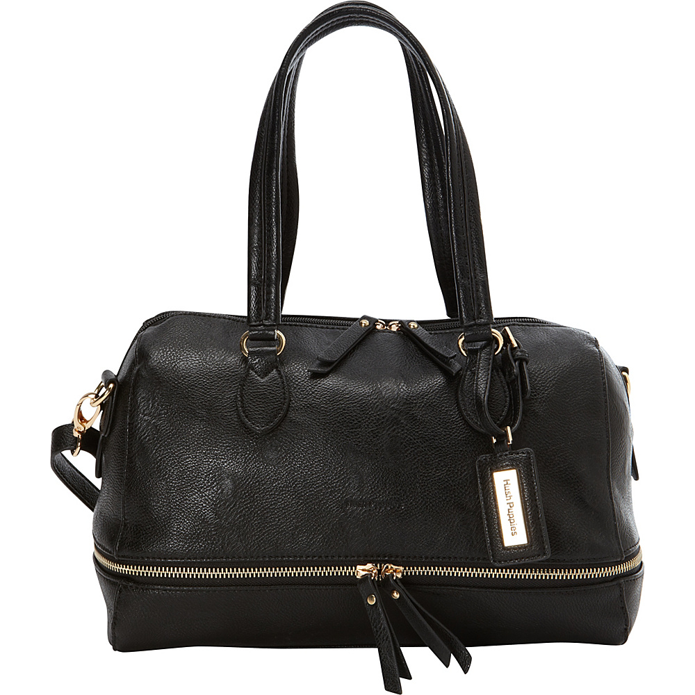Hush Puppies Shoulder Bag with Double Slider Pulls Black Hush Puppies Manmade Handbags