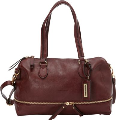 Hush Puppies Shoulder Bag with Double Slider Pulls Bordeaux - Hush Puppies Manmade Handbags