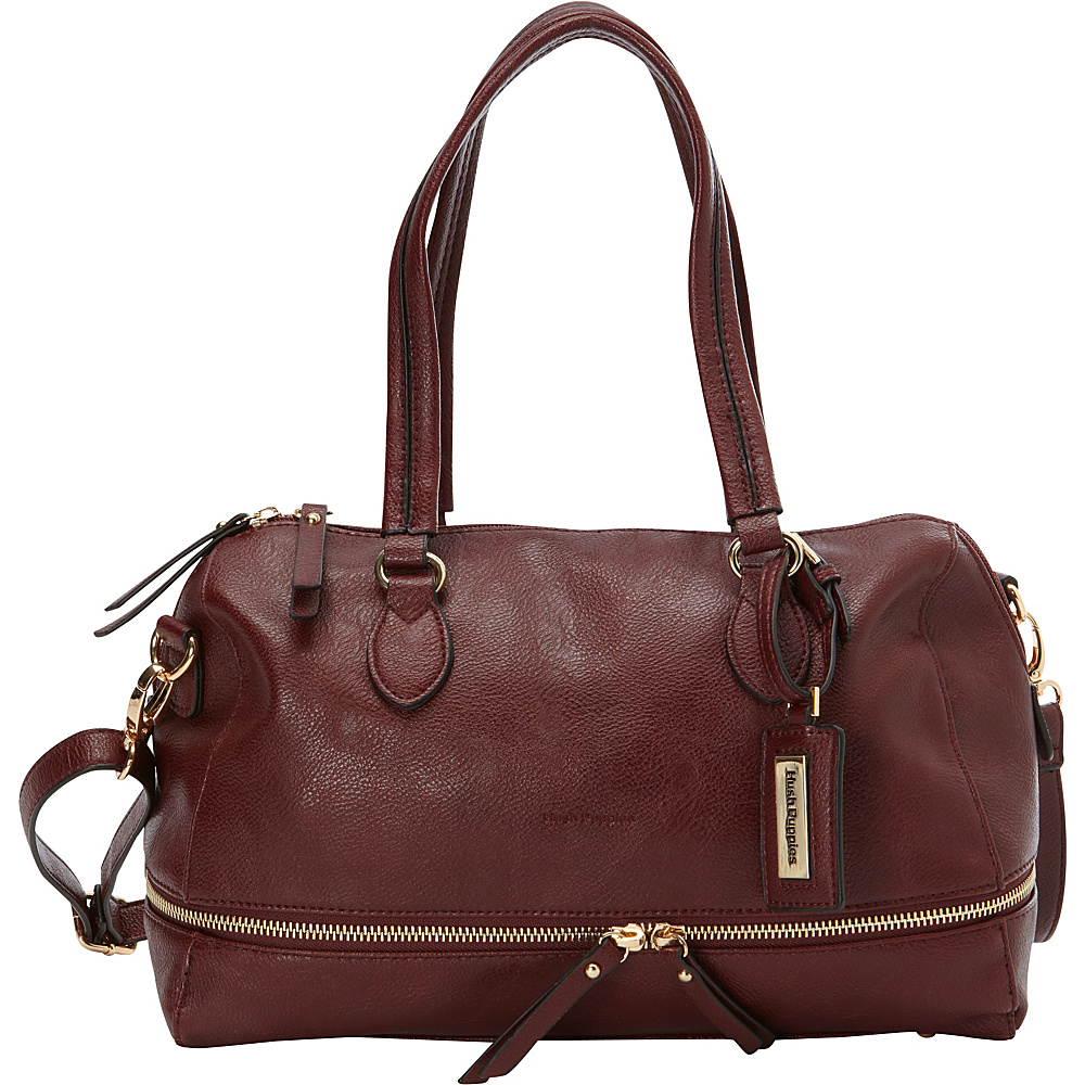 Hush Puppies Shoulder Bag with Double Slider Pulls Bordeaux Hush Puppies Manmade Handbags