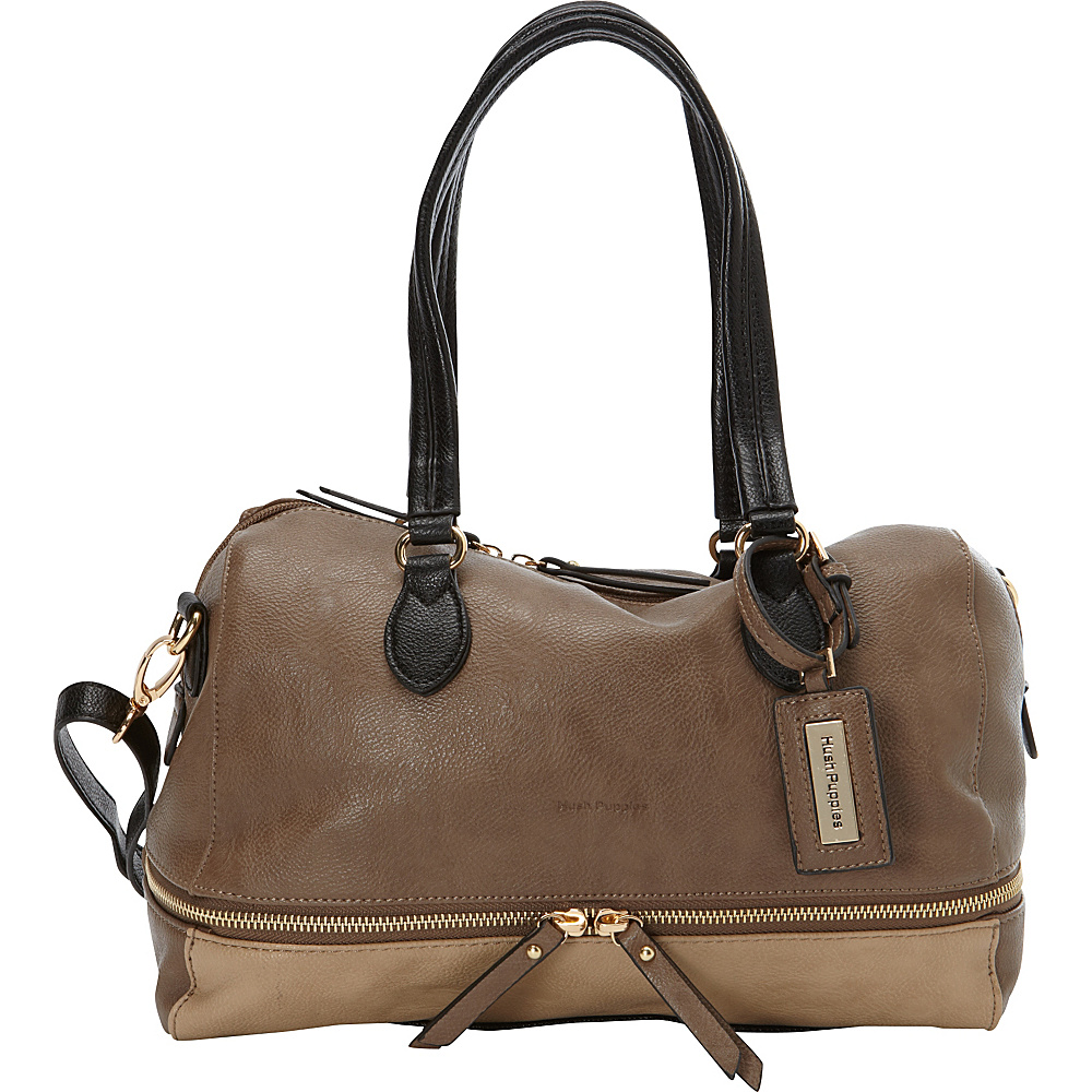 Hush Puppies Shoulder Bag with Double Slider Pulls Taupe Multi Hush Puppies Manmade Handbags