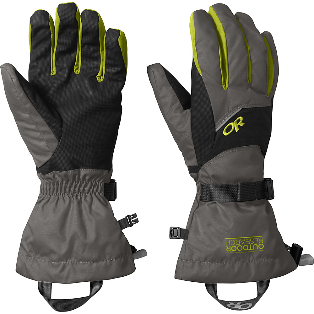 Outdoor Research Adrenaline Gloves XL - Charcoal/Black/Lemongrass – LG - Outdoor Research Hats/Gloves/Scarves - Fashion Accessories, Hats/Gloves/Scarves