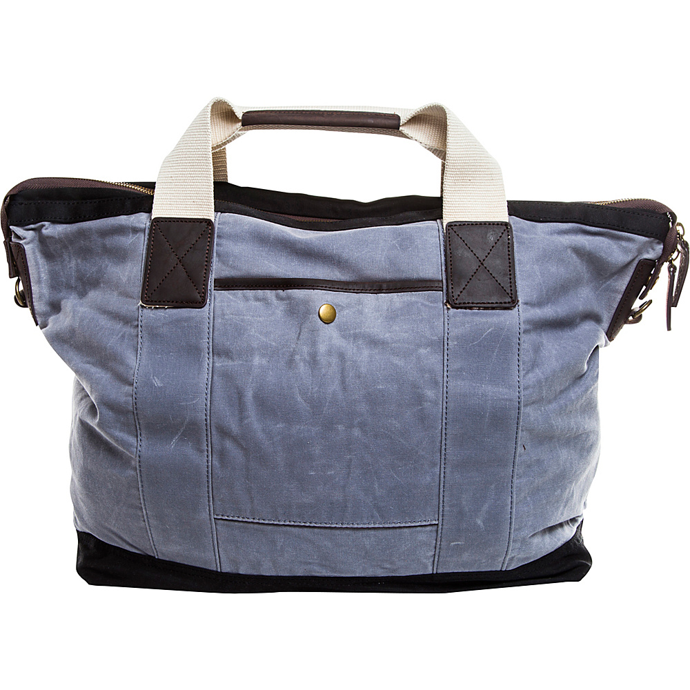 Maker & Co Leather & Waxed Canvas Everyday Tote Grey & Black - Maker & Co Fabric Handbags