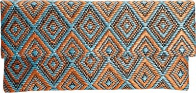 JNB Straw Clutch In Aztec Pattern Blue - JNB Straw Handbags