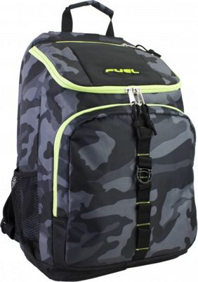 Fuel Top Loader Backpack Black with Green Camo - Fuel Everyday Backpacks