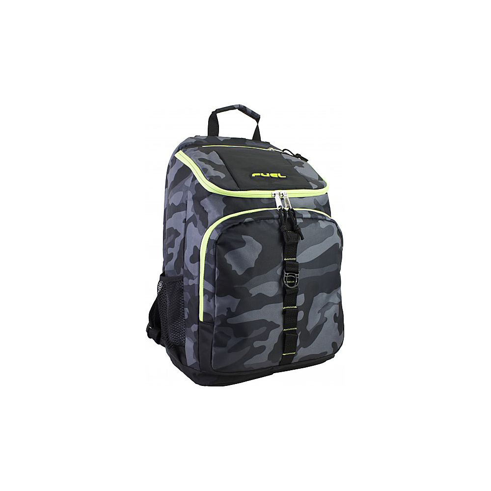 Fuel Top Loader Backpack Black with Green Camo Fuel Everyday Backpacks