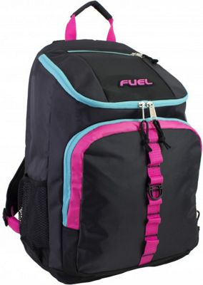 Fuel Top Loader Backpack Black with Fuschia Pink/Scuba Blue - Fuel Everyday Backpacks