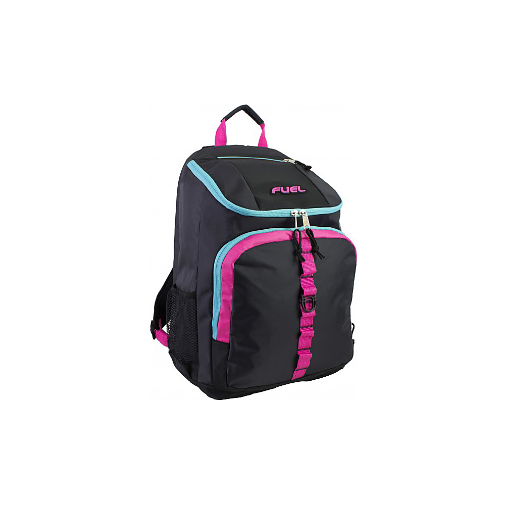 Fuel Top Loader Backpack Black with Fuschia Pink Scuba Blue Fuel Everyday Backpacks