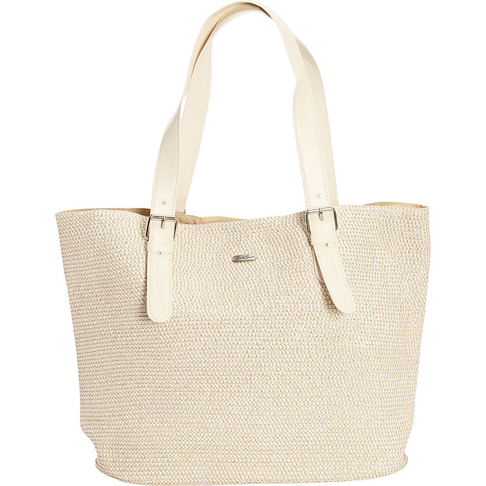 Sun N Sand Morocco Sand Shoulder Tote White/Silver - Sun N Sand Straw Handbags - Handbags, Straw Handbags