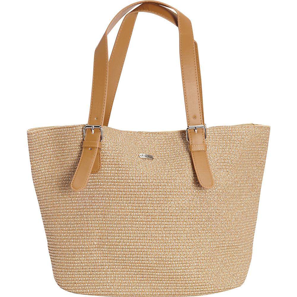Sun N Sand Morocco Sand Shoulder Tote Tan/Silver - Sun N Sand Straw Handbags - Handbags, Straw Handbags