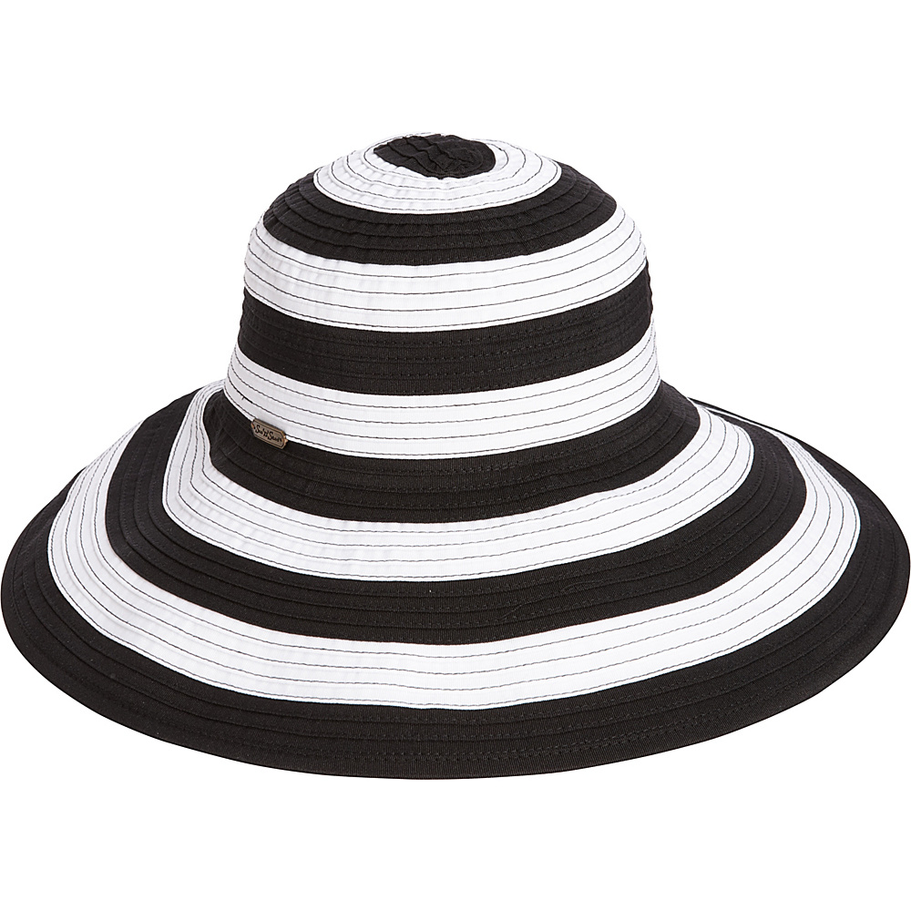 Sun N Sand Striped Sun Hat One Size - Black - Sun N Sand Hats/Gloves/Scarves - Fashion Accessories, Hats/Gloves/Scarves