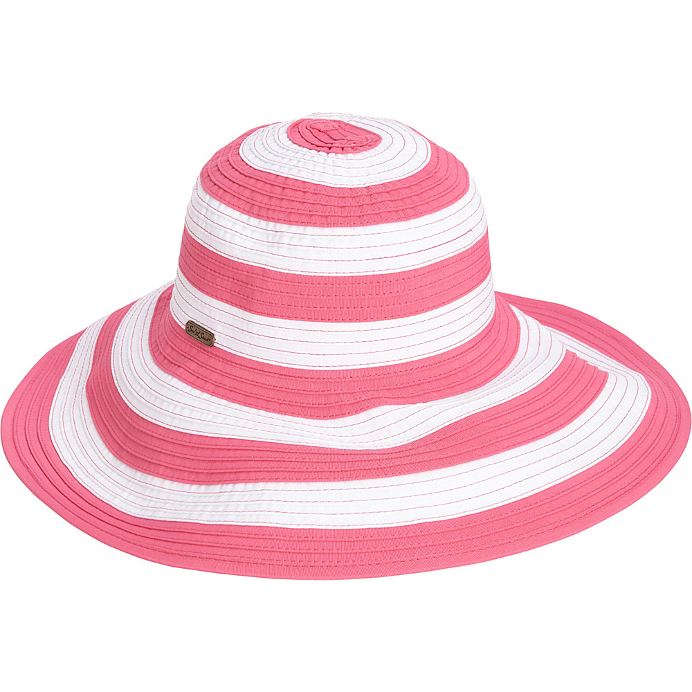 Sun N Sand Striped Sun Hat Fuchsia - Sun N Sand Hats/Gloves/Scarves - Fashion Accessories, Hats/Gloves/Scarves