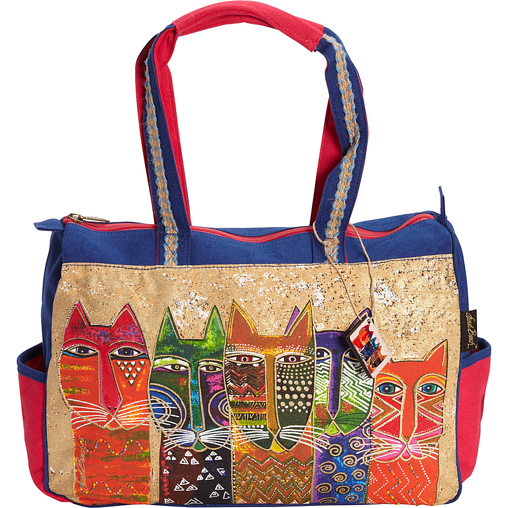 Laurel Burch Long Neck Cats Medium Tote Multi Laurel Burch Fabric Handbags