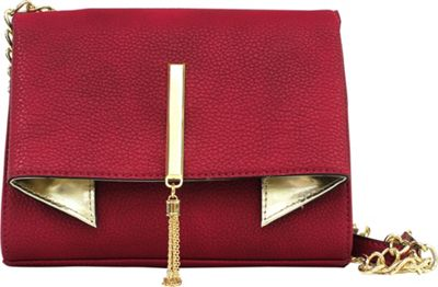 Nicole Miller New York Trina Clutch Crossbody Winterberry/Gold - Nicole Miller New York Leather Handbags