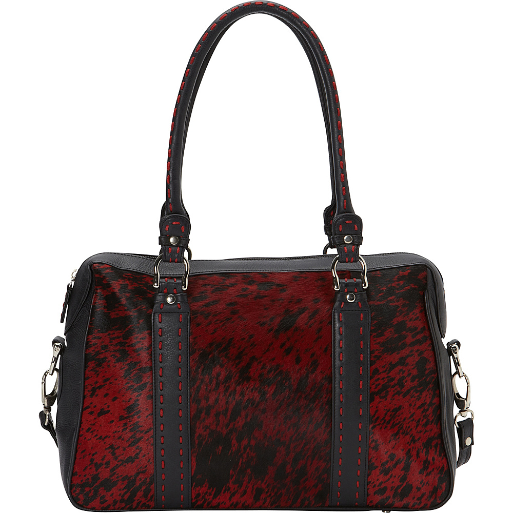 Scully Haircalf Shoulder Bag Red and Black Scully Leather Handbags