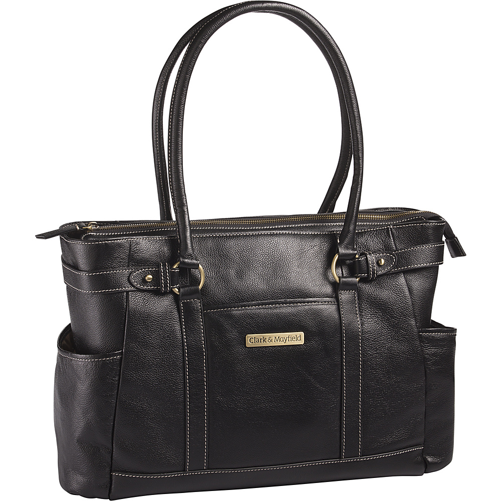 Clark Mayfield Hawthorne Leather 17.3 Laptop Handbag Black Clark Mayfield Women s Business Bags