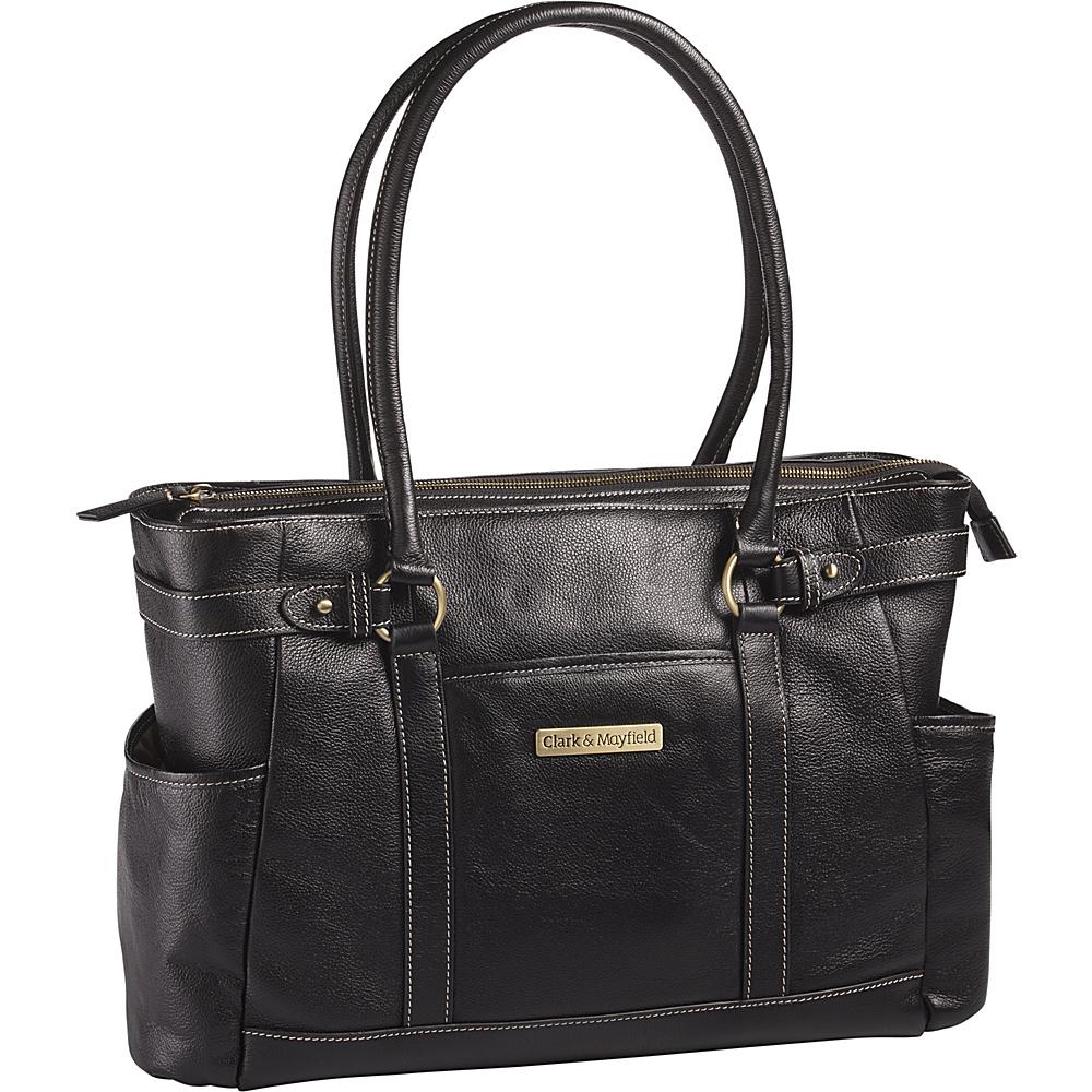 Clark Mayfield Hawthorne Leather 17.3 Laptop Handbag Black Clark Mayfield Women s Business Bags
