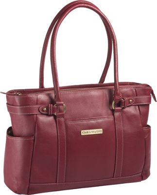 Clark & Mayfield Hawthorne Leather 17.3 inch Laptop Handbag Red - Clark & Mayfield Women's Business Bags