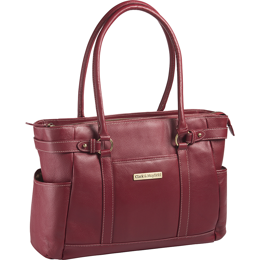 Clark Mayfield Hawthorne Leather 17.3 Laptop Handbag Red Clark Mayfield Women s Business Bags