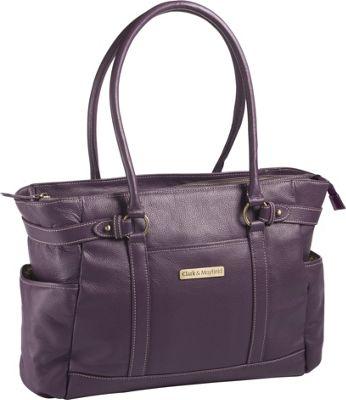 Clark & Mayfield Hawthorne Leather 17.3 inch Laptop Handbag Purple - Clark & Mayfield Women's Business Bags