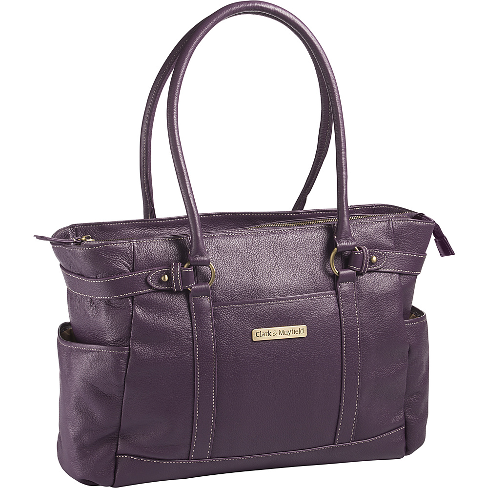 Clark Mayfield Hawthorne Leather 17.3 Laptop Handbag Purple Clark Mayfield Women s Business Bags