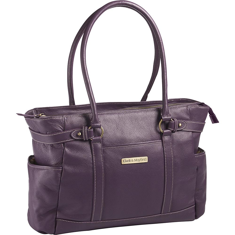 Clark Mayfield Hawthorne Leather 17.3 Laptop Handbag Purple Clark Mayfield Women s Business Bags