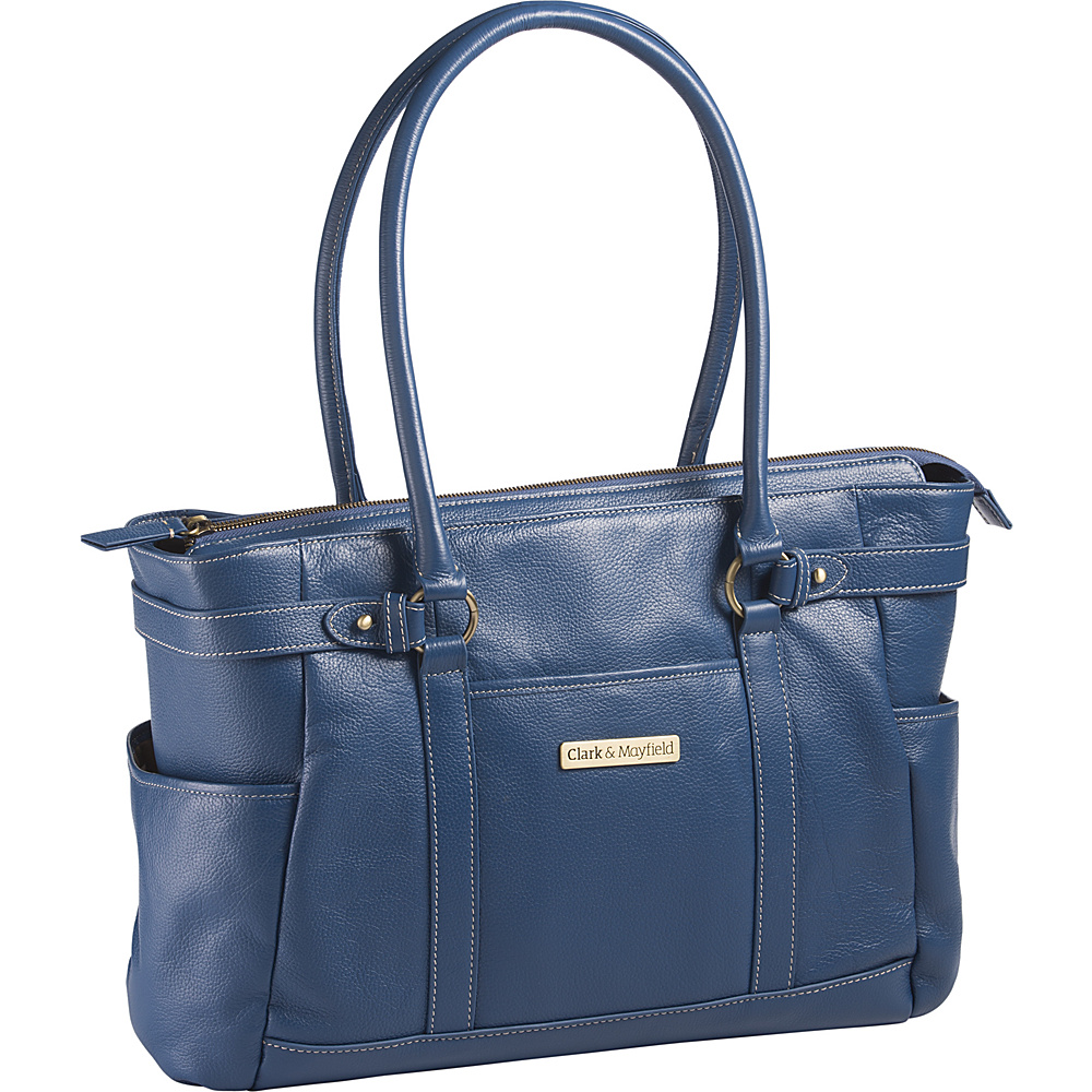 Clark Mayfield Hawthorne Leather 17.3 Laptop Handbag Blue Clark Mayfield Women s Business Bags