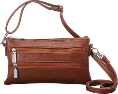Medici RFID Double Zip Mini Crossbody Cognac - Medici Manmade Handbags
