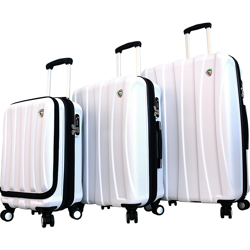 Mia Toro ITALY Tasca Fusion Hardside Spinner Luggage 3PC Set White Mia Toro ITALY Luggage Sets