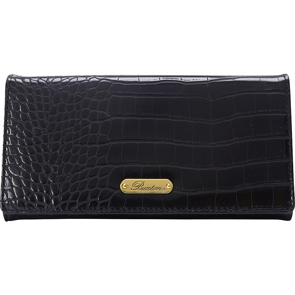 Buxton Nile Exotic Expandable Clutch Black - Buxton Womens Wallets - Women's SLG, Women's Wallets
