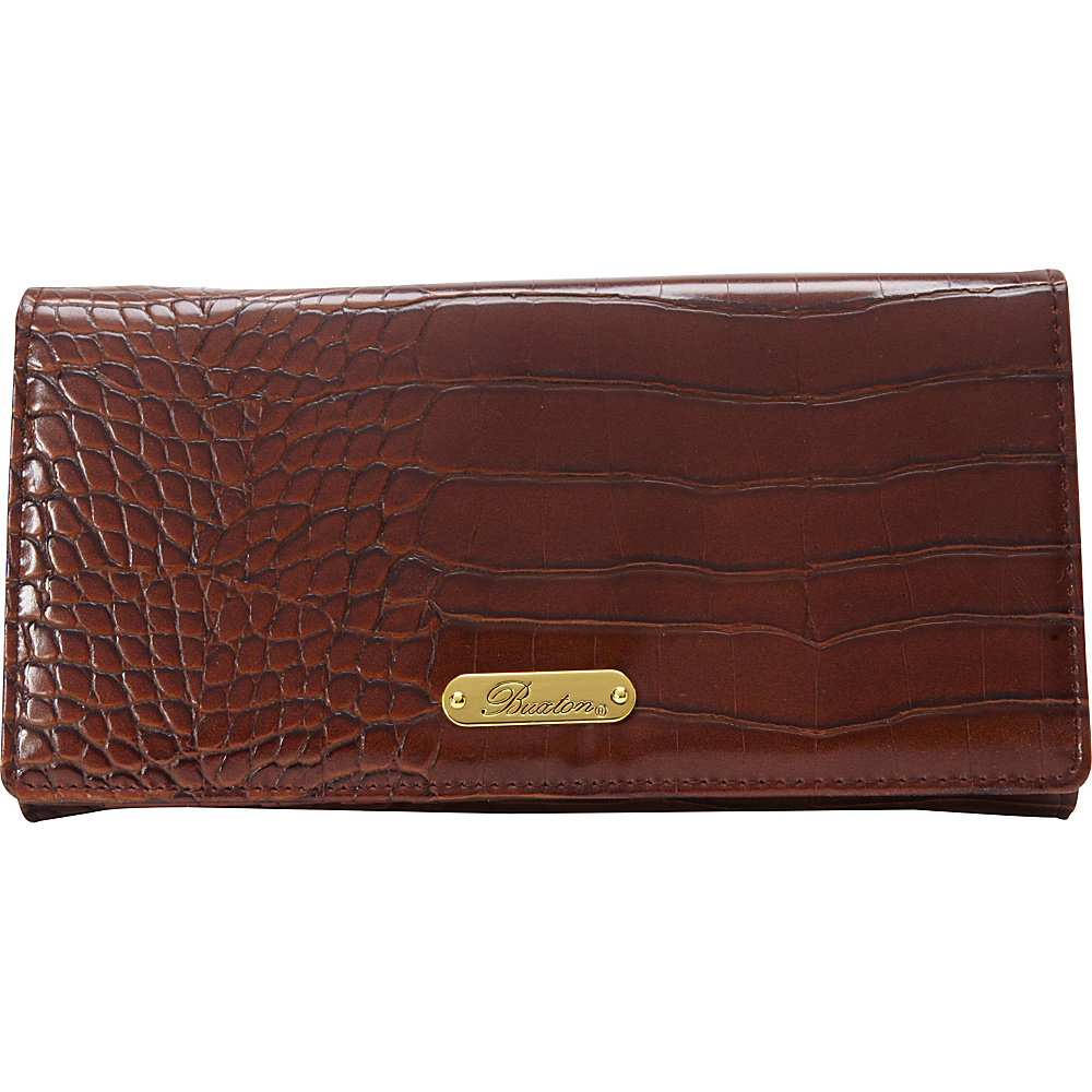 Buxton Nile Exotic Expandable Clutch Brown - Buxton Womens Wallets - Women's SLG, Women's Wallets