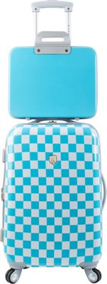 Travelers Club Luggage Paris Fashion 2PC Hardside Expandable Spinner Luggage Set Checkered Blue - Travelers Club Luggage Luggage Sets