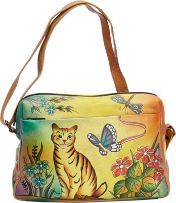 ANNA by Anuschka Hand Painted Medium Satchel Organizer Cat - ANNA by Anuschka Leather Handbags
