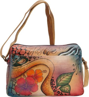 ANNA by Anuschka Hand Painted Medium Satchel Organizer Floral Abstract - ANNA by Anuschka Leather Handbags
