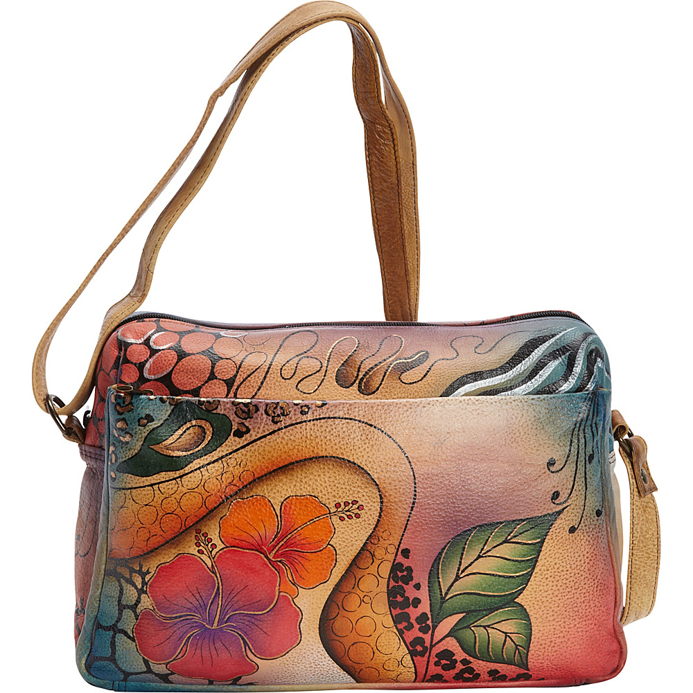 ANNA by Anuschka Hand Painted Medium Satchel Organizer Floral Abstract ANNA by Anuschka Leather Handbags