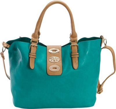 Diophy Turn Lock Bag-in-Bag Tote Seafoam - Diophy Manmade Handbags