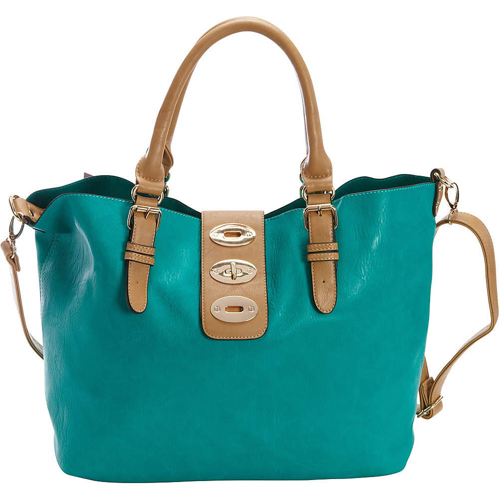 Diophy Turn Lock Bag in Bag Tote Seafoam Diophy Manmade Handbags