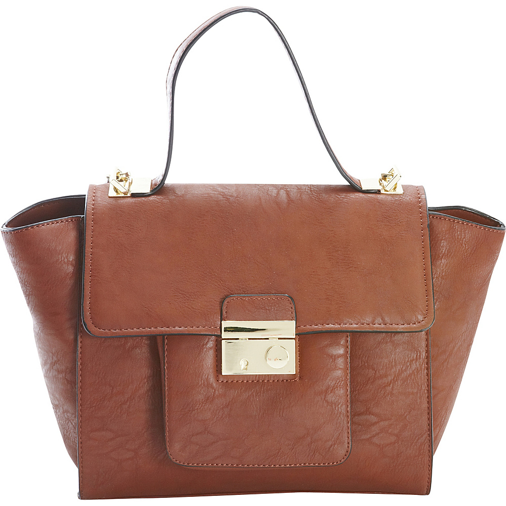 Diophy Studded Satchel Brown Diophy Manmade Handbags