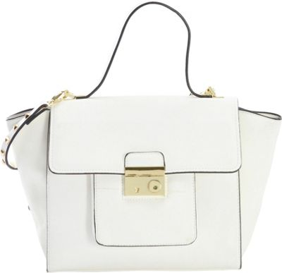 Diophy Studded Satchel White - Diophy Manmade Handbags