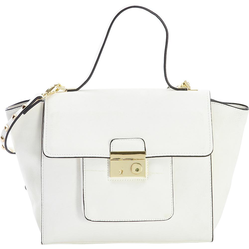 Diophy Studded Satchel White Diophy Manmade Handbags