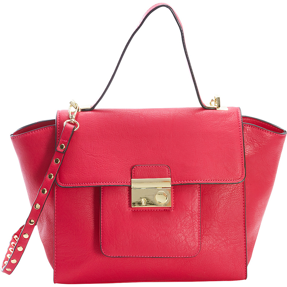 Diophy Studded Satchel Pink Diophy Manmade Handbags