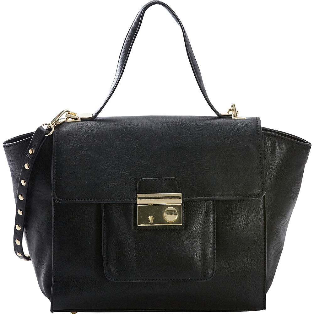 Diophy Studded Satchel Black Diophy Manmade Handbags