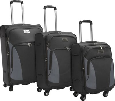 Chariot Prato 3Pc Luggage Set Black - Chariot Luggage Sets