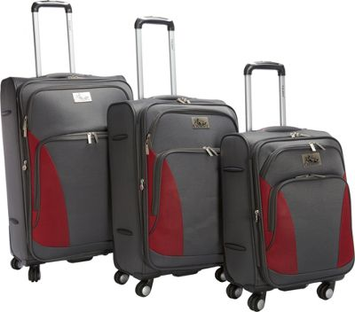 Chariot Prato 3Pc Luggage Set Grey/Red - Chariot Luggage Sets