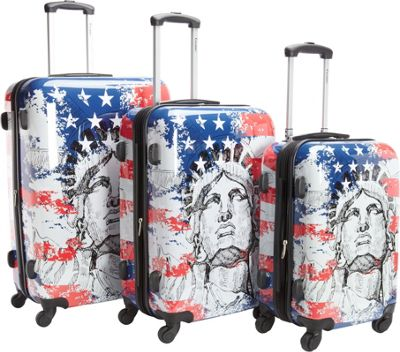 Chariot Liberty 3Pc Luggage Set Red/Blue - Chariot Luggage Sets